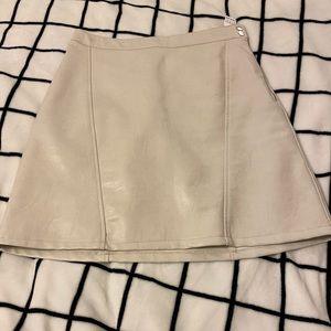 ZARA Off-White Faux Leather Skirt